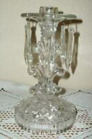ANTIQUE GLASS CANDLE HOLDER PRISMS 1920's VERY ORNATE DESIGN 6 ORIGINAL CRYSTALS