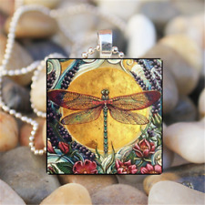Yellow Moon Dragonfly Art Cabochon Glass Tile Chain Pendant Necklace Silver JP