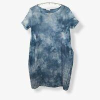 LINEN BALLOON DRESS Blue Tie Dye Made In Italy Lagenlook Women UK Size 14 16 18