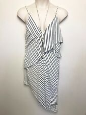 FAB SHEIKE BLACK WHITE STRIPE DRESS SZ 16 SLEEVELESS