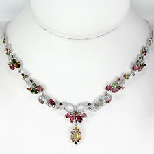 NATURAL MULTI COLOR TOURMALINE & WHITE CZ STERLING 925 SILVER NECKLACE 18