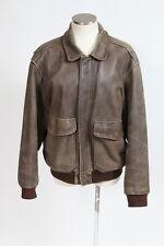 Distressed Vtg 90s Brown Leather ADVENTURE BOUND Bomber Flight Jacket Coat Men M