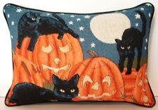 Halloween -Three Black Cats In A Pumpkin Patch, Moon, Stars Tapestry Pillow New