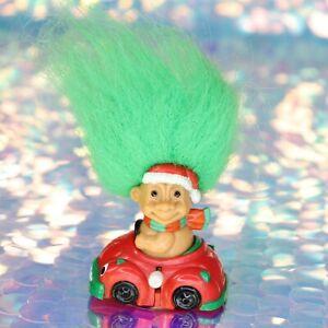 TROLLS WIND UP TOY CAR Santa Hat Scarf Green Hair Red Vehicle Vintage Russ BO022