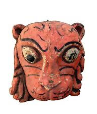 Handcrafted Vintage Wooden Lion Face Mask Hand Carved Tribal Painted Hanging Wal