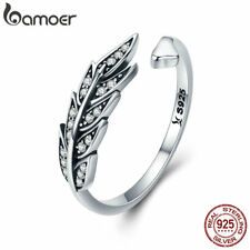 Bamoer .925 Sterling Silver Open Ring gorgeous leaves With cz For Women Jewelry