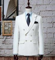 Ivory Double Breasted Men Suits Gentleman Classic Slim Fit Wedding Groom Blazer