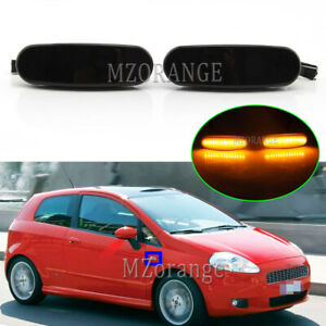 Smoked LED Side Marker Light Lamps Repeaters For Fiat Punto Evo Panda 2008-2019