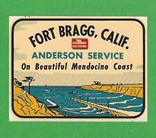 "VINTAGE ORIGINAL 1948 SOUVENIR ""FORT BRAGG"" CALIF CHEVRON GAS STATION DECAL ART"
