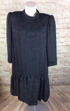 VINTAGE ROBERT LEONARD DRESS BLACK FLORAL SIZE 16