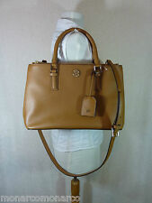 Tory Burch Tigers Eye Brown Saffiano Leather Robinson Mini Double-Zip Tote $495