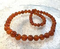 Vintage Soviet Russian Natural Baltic Amber Necklace Honey Cognac Round Beads