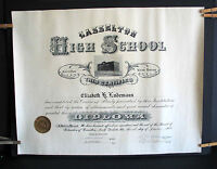"1926 Vintage Public High School Diploma Casselton ND 22x17"" Antique FREE SH"