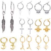 Punk Women Men's Tassels Earrings Boys Ear Stud Hoop Cross Ring Chain Jewelry
