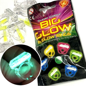6 x GLOW IN THE DARK RINGS CHILDRENS PARTY GIFT GIRLS CHRISTMAS STOCKING FILLER