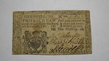 1763 One Shilling New Jersey Nj Colonial Currency Note Bill! Very Fine! Rare