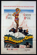 THREE SAILORS AND A GIRL SEXY JANE POWELL GORDON MacRAE 1954 1-SHEET