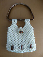 Purse, Handbag, Macrame, off-white, cream, retro, mid-century,