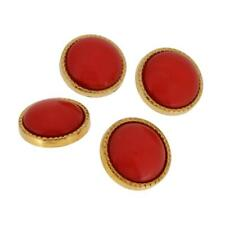 4 gold tone milled edge lipstick red dome centre sewing craft buttons 22mm
