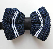 Navy blue knitted bow tie with white stripes size 12-20 NEW in box
