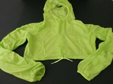 Lululemon Athletica SZ 8 Cropped Windbreaker Pullover Cropped Hooded Lime Green