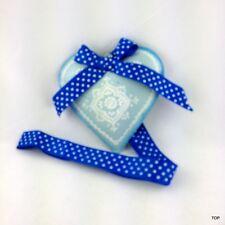 Herz Blech Blau mit Verzierung Schleife und Band zum Hängen