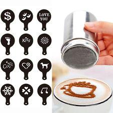 Neu Kakaostreuer Gewürzstreuer Schokostreuer+16 Kaffee-Schablonen Cappuccino