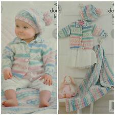 Knitting Pattern Bambino Giacca In Maglia facile withcollar Berretto Coperta DK kingcole 4202