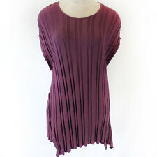 Transparente Black Lable Deep Purple Ribbed Knit Tunic Sweater Dress Fits XL 1X