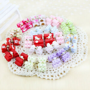 10-100Pcs 3D Small Puppy Pet Dog Rhinestone Hair Bow Grooming Bands T1Y5 M6T6