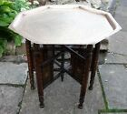 ANTIQUE  ANGLO INDIAN  INLAID FOLDING  SIDE TABLE WITH BRASS TRAY