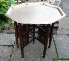 ANTIQUE ROSEWOOD ANGLO/INDIAN  INLAID FOLDING  SIDE TABLE WITH BRASS TRAY