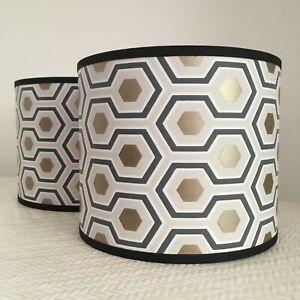 Beautifully Handmade Drum Lampshade In Cole & Son Hicks' Hexagon
