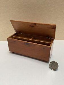 Vintage Artisan Signed Knotty Wood Hope Chest Dollhouse Miniature 1:12