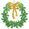 37cm Christmas Sparkle GOLD Bow Green Glitter Holly Wreath Door Wall Decoration