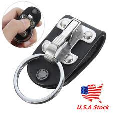 Stainless Steel Belt Clip Ring Holder Keyring Black Leather Detachable Key Chain