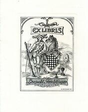 Chess, Hunter, Horse, Ex libris Bookplate Cooper Engraving by H. Metzler