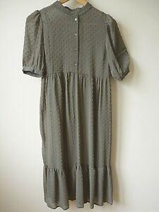 New Womens Khaki Green Sheer Dobby+Vest Underlay Frill Hem Midi Dress Size 8 &10