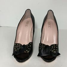 RED VALENTINO Black Leather Peep Toe Pumps with Gold Studded Bow Size 40 $450