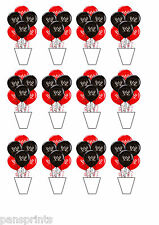 12X EDIBLE CUPCAKE CAKE TOPPERS DECORATION WWE WRESTLING BALLOONS STANDUPS PARTY
