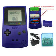 Grape Purple Rechargeable Nintendo Game Boy Color Console + Card + Charger