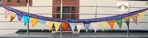 Vintage Indian Silk Sari Fabric Bunting Boho Decor X Mas Garland Outdoor Decor