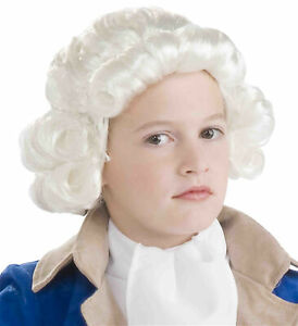 Historical Colonial Victorian Judge Olden Day White Boys Costume Wig