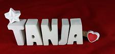 Beton, Steinguss Buchstaben 3D Deko Namen TANJA als Geschenk verpackt!
