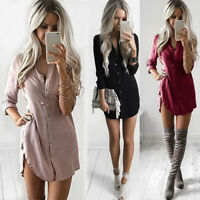 Women Summer Long Sleeve V Neck Blouse Ladies Loose Casual Tops Shirt Dress