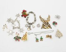 Lot Of 17 Vintage Holiday Christmas Jewelry Pendants Pins Earrings & Other 10423
