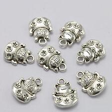 30Pc Lucky Antique Silver Fortune Cat Maneki-neko Charm Pendant Jewelry Findings