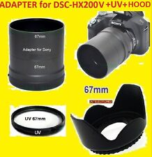 CAMERA LENS ADAPTER HX200V+UV+HOOD 67mm for SONY Cyber-shot DSC-HX200V HX200