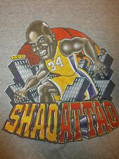 vtg SHAQUILLE O'NEAL LOS ANGELES LAKERS T SHIRT Shaq Attack Caricature Youth M