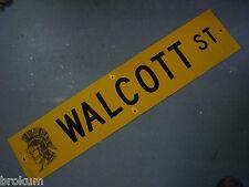 "Vintage ORIGINAL WALCOTT ST STREET SIGN 42"" X 9"" BLACK LETTERING ON YELLOW"